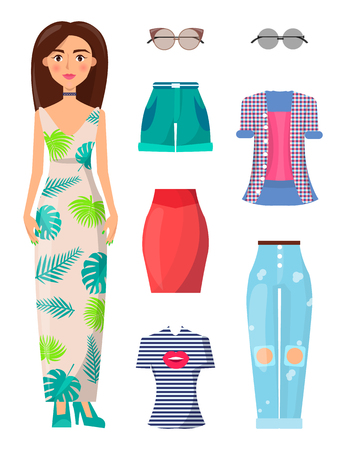 Woman and Summer Mode Set Vector Illustration