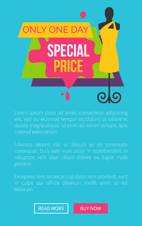 Only Day Special Price Promo Poster Push buttons Vector illustration.