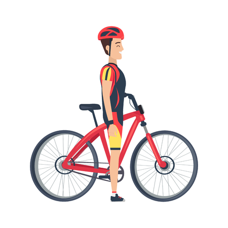 Male Stand Near Bike Vector Illustration Isolated