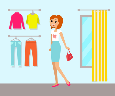 Clothing Store and Woman, Vector Illustration