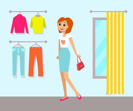 Kledingwinkel en vrouw, vectorillustratie Stockfoto - 96612332