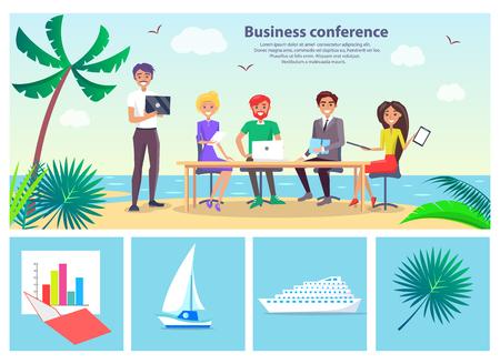 Business Conference Seaside Vector Illustration