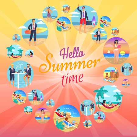 Hello Summer Time Images Set Vector Illustration