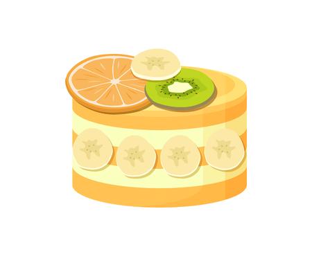 Beautiful Fruit Cake Poster Vector Illustration