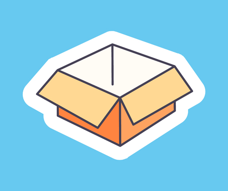 Open Empty Cardboard Box Isolated Illustration Illustration