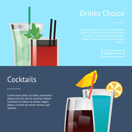 Drinks Choice Cocktail Poster Set with Bloody Mary Vector illustration.