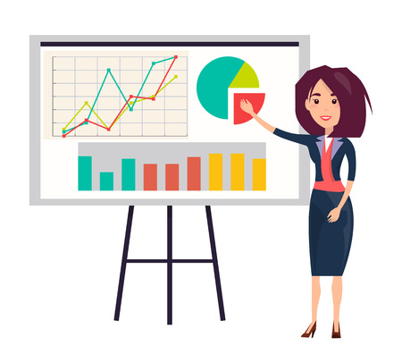 Businesswoman Shows Presentation with Graphics Vector illustration.