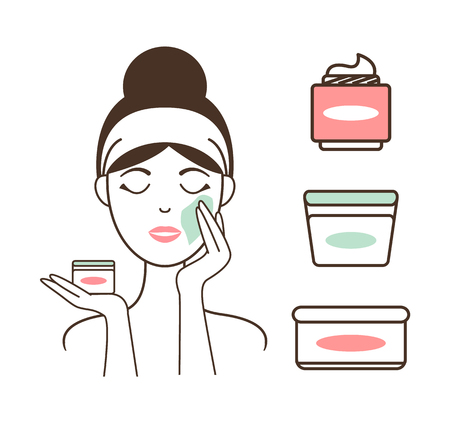 Woman Applies Fresh Organic Creams on Her Face Vector illustration.
