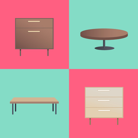 Stylish Wooden Furniture With Smooth Surfaces Vector illustration.