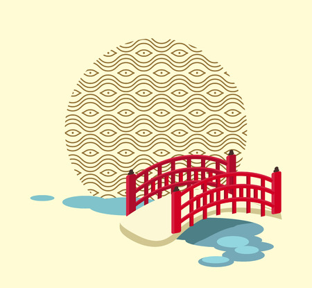 Japanese Bridge over River and Circle with Pattern Vector illustration.