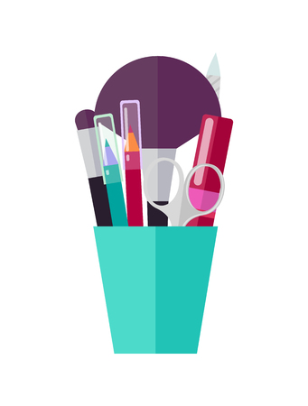 Makeup Tools and Applicators in Bright Plastic Cup Vector illustration.