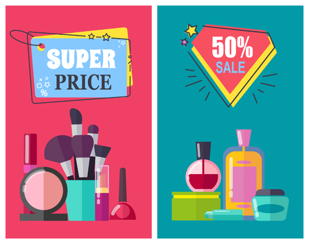 Super Price for Makeup Tools and Cosmetics Posters Vector illustration.
