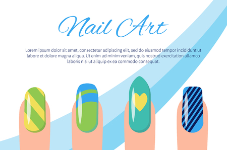 Set of Color Patterns on Nails Vector Illustration