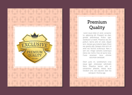 Exclusive Premium Quality Golden Label Isolated Vector illustration.
