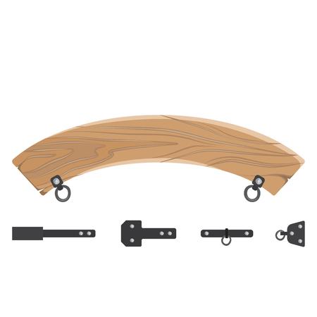 Wooden Board and Fastener Set Vector Illustration