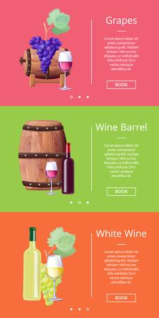 Grapes White Wine Barrel Online Posters Set Vector illustration. 向量圖像