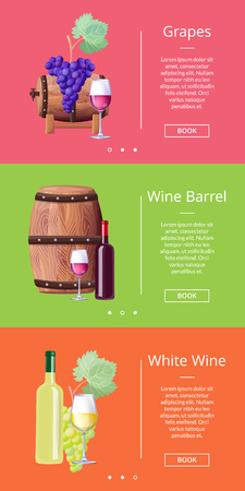 Grapes White Wine Barrel Online Posters Set Vector illustration. Illustration