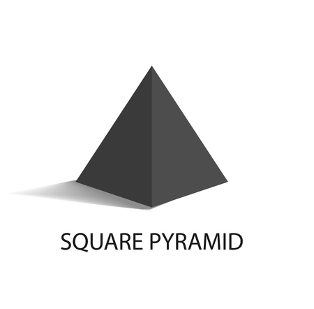 Square Pyramid Geometric Figure in Black Color
