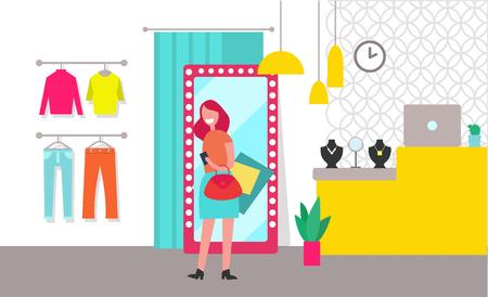 Woman Shopping Clothing Store Vector Illustration Illustration
