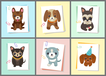 Puppies and Dogs Poster Set Vector Illustration Archivio Fotografico - 96762799