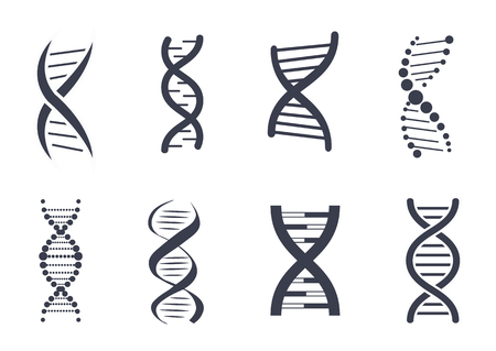 Collection of DNA Deoxyribonucleic Acid Chain Logo Illustration
