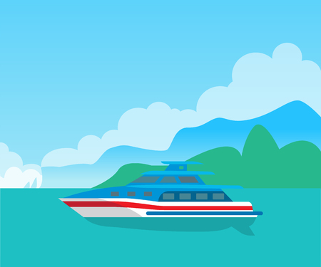 Beautiful Seascape and Cute Yacht color Poster.