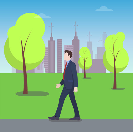 Businessman Walking in City Park, Colorful Banner Stock Vector - 96676409