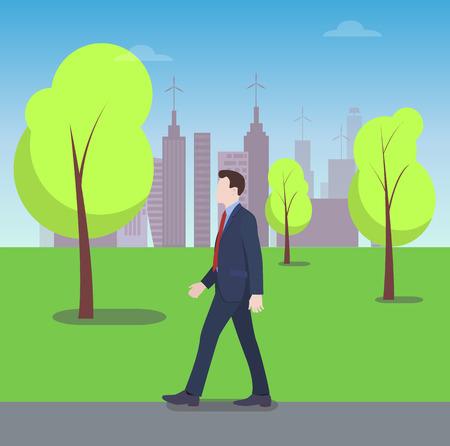 Businessman Walking in City Park, Colorful Banner Illustration