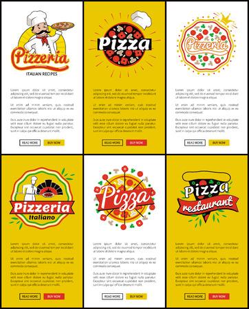 Pizzeria Italian Recipes Web Vector Illustration Illustration