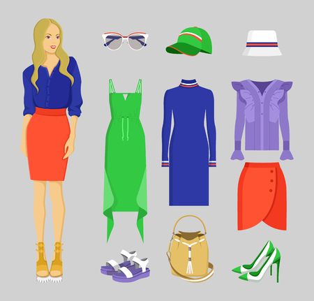 Summer Mode of Woman Set, Vector Illustration Standard-Bild - 96676421