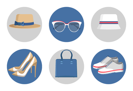 Summer Mode Accessories Set Vector Illustration Ilustracja
