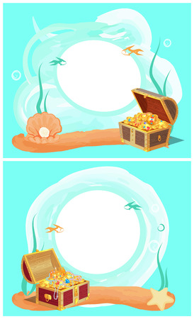 Creative Photo Frames with Treasure in Sea Set Ilustração