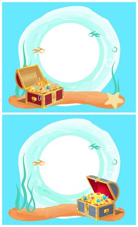 胸に神秘的な海の宝物を持つフォトフレーム
