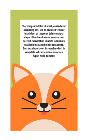 Animal Cover Cat and Text Vector Illustration