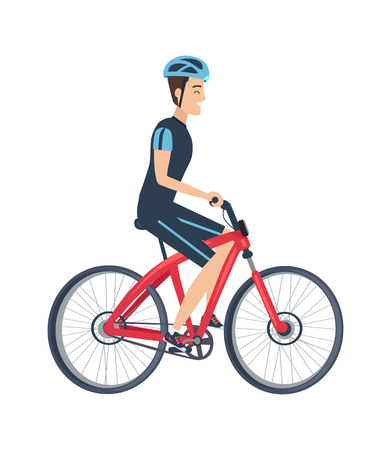 Male riding on bike vector illustration isolated on white background. Man in helmet, suit in blue and black colors, ride on bicycle in flat style