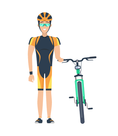 Cyclist standing by bicycle, man with helmet and glasses of green color, sport and activities, happiness and smile, isolated on vector illustration