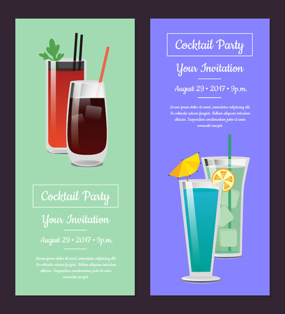 Cocktail Party Invitation Banner with Bloody Mary 向量圖像