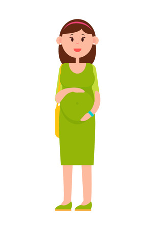 Pregnant Woman with Big Belly in Long Green Dress.