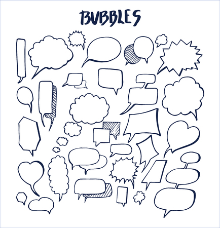 Set of hand drawn bubbles vector illustration with various oval heart rectangular rhombic and acute-angled templates of speech bulb isolated on white Banco de Imagens - 96703734