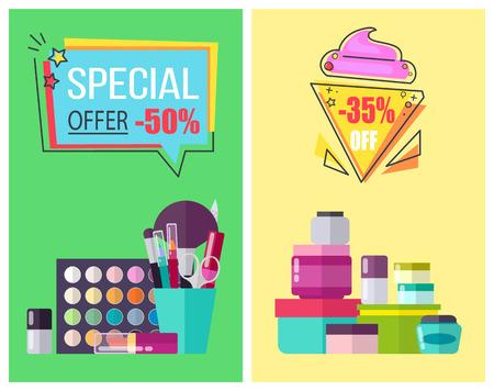 스킨 케어 수단 및 메이크업 도구 홍보 포스터를위한 특별 혜택. 보습 크림 및 장식 화장품 벡터 illutrations 병.