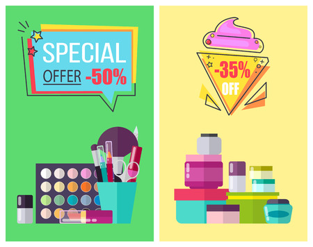 Special offer for skincare means and makeup tools promotional posters. Bottles with moisturizing creams and decorative cosmetics vector illutrations. 向量圖像