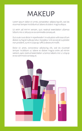 Makeup products of high quality vertical promotional poster. Thick brushes, skin foundation, nude lipstick and tube of mascara vector illustrations.