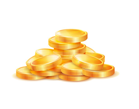 Pile of golden coins vector illustration isolated on white background. Gold money symbol of richness and wealth, earnings and profit, realistic icon Vettoriali