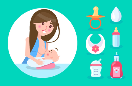 Happy Mother Lactating Small Son, Colorful Banner Illustration