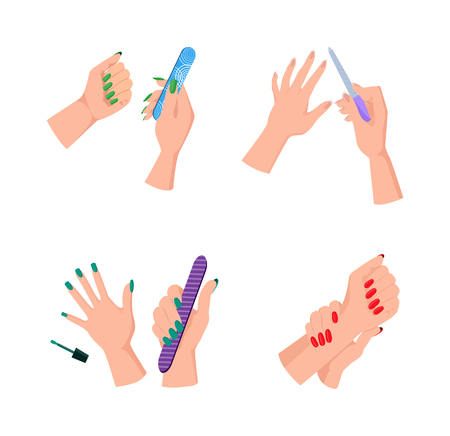 Female Hands with Neat Manicure and Nail Files.