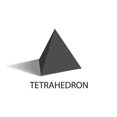 Tetrahedron black geometric figure with sharp angles and even size sides in shape of regular triangles that casts shade isolated vector illustration.