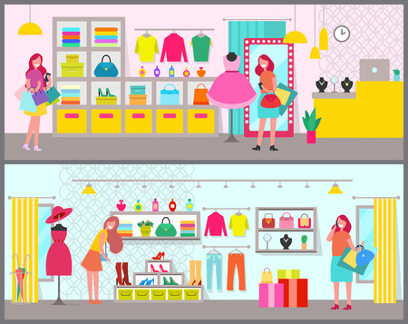 Pair of colorful banners with cute clothing stores, lot of stuff on shelves, big mirrors, shirts and dresses, pants and handbags, vector illustration
