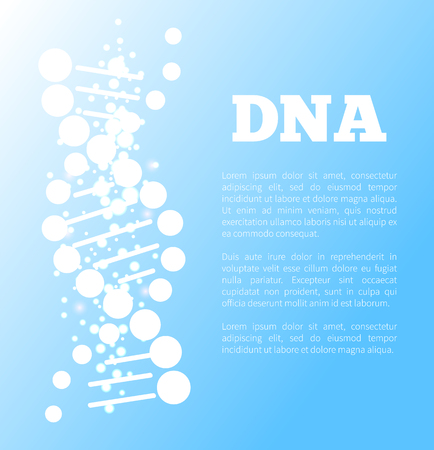 DNA Poster of Blue Color, Vector Illustration