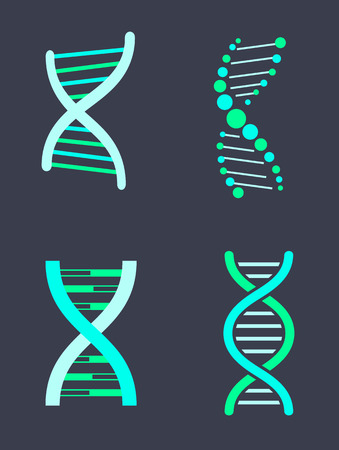 DNA Chain Variations of Bright Turquoise Color Set Illustration