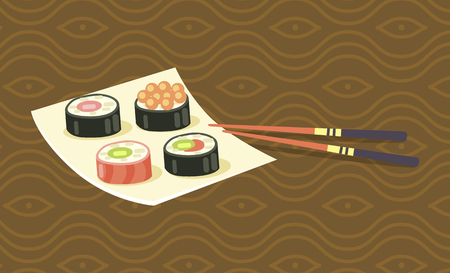 Delicious Japanese sushi rolls with red caviar, fresh salmon and green avocado on square plate with wooden chopsticks cartoon vector illustration. Illustration
